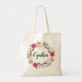 Rustic Feather Boho Floral Wreath Bridesmaid Tote Bag