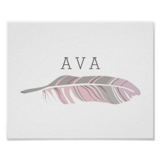 Rustic Feather | Purple Personalized Name Wall Art