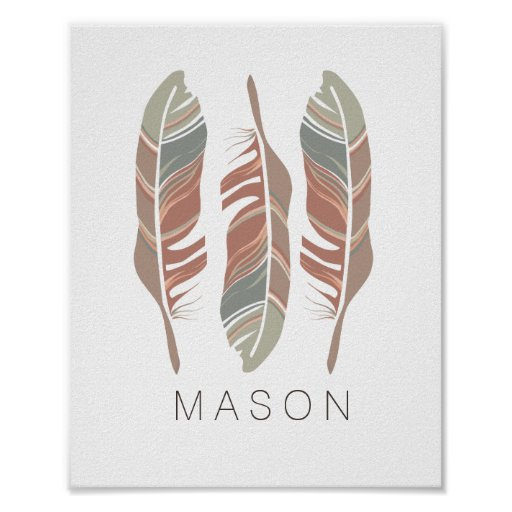 Rustic Feathers Personalised Boy Wall Art Print