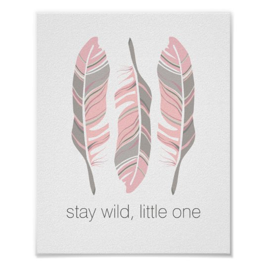 Rustic Feathers Stay Wild Personalised Wall Art