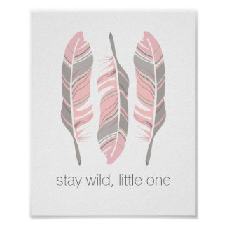 Rustic Feathers Stay Wild Personalized Wall Art