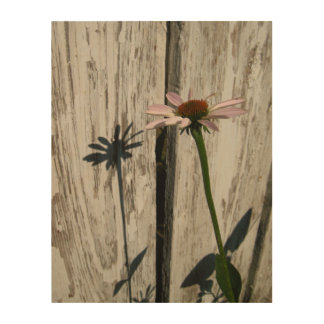 Rustic fence and flower wood wall art