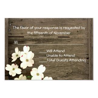 Rustic Fence & Dogwood Blooms Wedding RSVP Card 9 Cm X 13 Cm Invitation Card