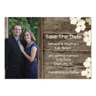 Rustic Fence Photo Save The Date Announcement