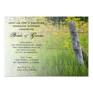 Rustic Fence Post Country Couples Wedding Shower 13 Cm X 18 Cm Invitation Card