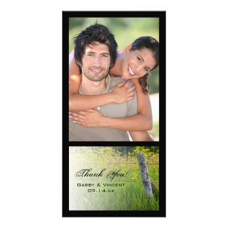 Rustic Fence Post Country Thank You Personalised Photo Card