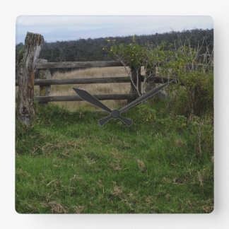 Rustic Fence Square Wall Clock