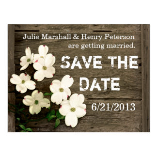 Rustic Fence with Flowers Wedding Save The Date Postcards