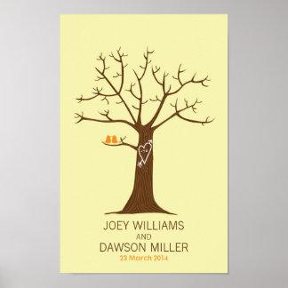 Rustic Fingerprint Tree Wedding with Lovebirds Poster