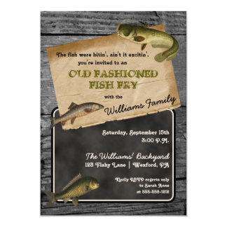 Rustic Fish Fry Backyard Cookout Picnic 13 Cm X 18 Cm Invitation Card