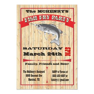 Rustic Fish Fry Party Poster Invitations