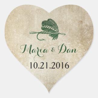 Rustic Fishing Wedding Date Sticker