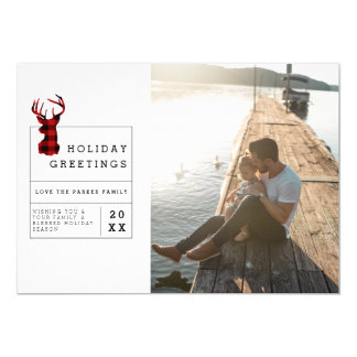Rustic Flannel | Holiday Greetings Photo Card