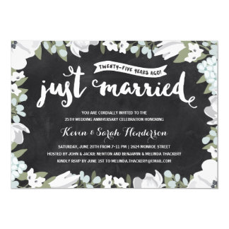 Rustic Floral   25th Wedding Anniversary 13 Cm X 18 Cm Invitation Card