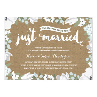 Rustic Floral | 25th Wedding Anniversary 13 Cm X 18 Cm Invitation Card