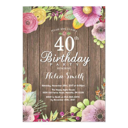 Rustic Floral 40th Birthday Invitation for Women