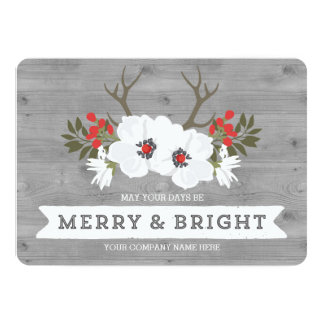 Rustic Floral Antlers Christmas Cards Business 13 Cm X 18 Cm Invitation Card
