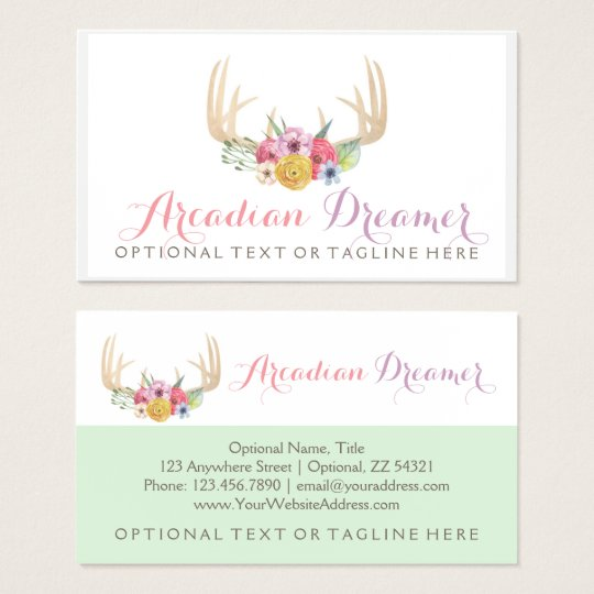 Rustic Floral Antlers Painted in Watercolor Style Business Card