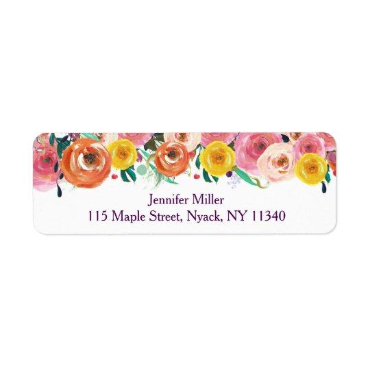 Rustic Floral Baby Shower Return Address Label