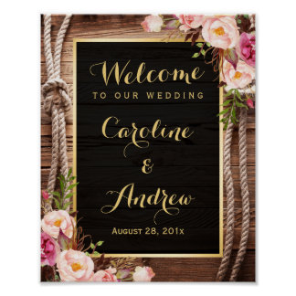 Rustic Floral Barn Wood Knot Welcome Wedding Sign