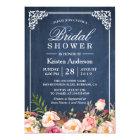 Rustic Floral Blue Chalkboard Classy Bridal Shower Card