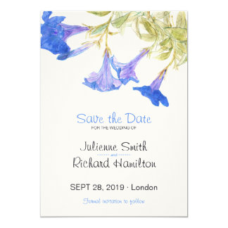 Rustic Floral Blue Flowers Wedding Save the Date Card