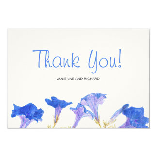 Rustic Floral Blue Flowers Wedding Thank You Card
