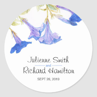 Rustic Floral | Blue Spring Wedding Sticker