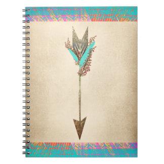 Rustic Floral Bohemian Arrow Notebook