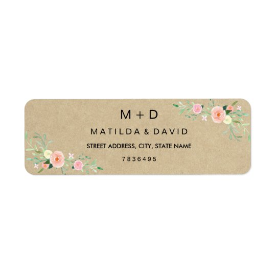 Rustic Floral Boho Wedding Address Label