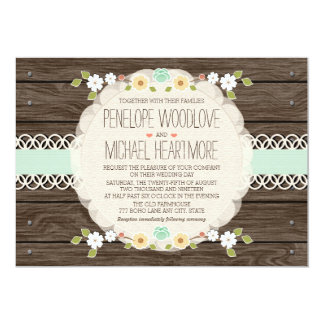 RUSTIC FLORAL BOHO WEDDING INVITATIONS