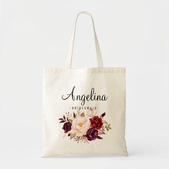 Rustic Floral Bridesmaid Personalised Tote Bag