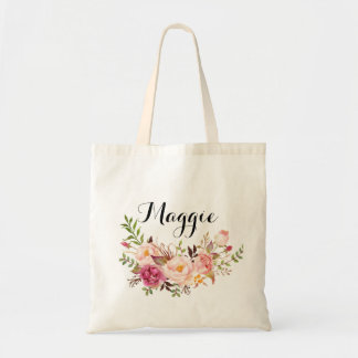 Rustic Floral bridesmaid Personalized,Welcome Tote Bag