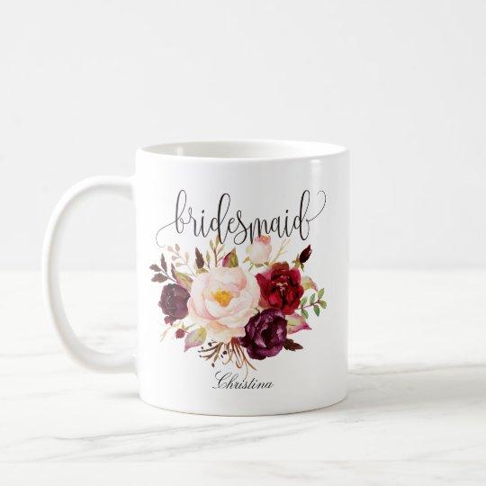 Rustic Floral Bridesmaid Wedding Coffee Mug
