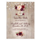 Rustic Floral Burgundy Save the Date Postcard