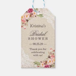 Rustic Floral Burlap Lace Bridal Shower Favor Gift Tags