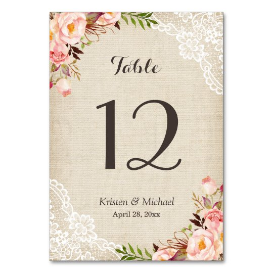 Rustic Floral Burlap Lace Table Number Table Card