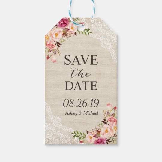 Rustic Floral Burlap Lace Wedding Save the Date
