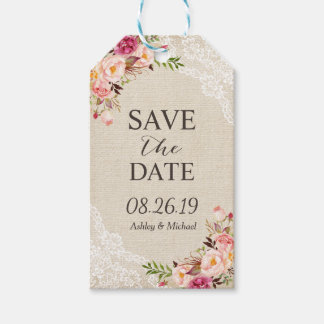 Rustic Floral Burlap Lace Wedding Save the Date Gift Tags