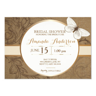 Rustic Floral Butterfly Bridal Shower Invitations