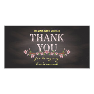 Rustic Floral Chalkboard Bridesmaid Photo Card