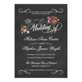 Rustic Floral Chalkboard Die-Cut Wedding Invites