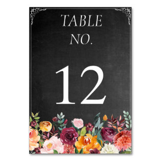 Rustic Floral Chalkboard Table Number Card