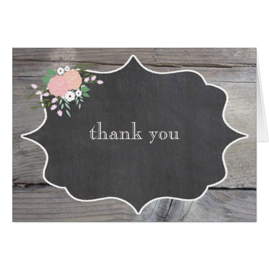 Rustic Floral Chalkboard Thank You Notes