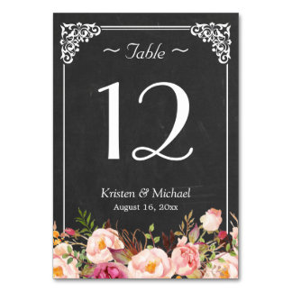 Rustic Floral Chalkboard Wedding Table Number Table Card