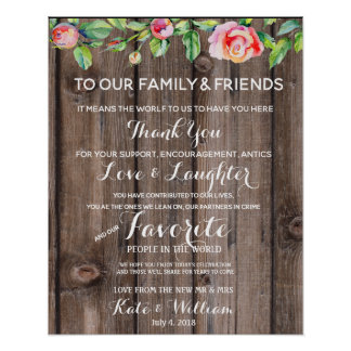 Rustic floral Country Thank you wedding sign