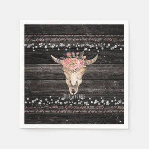 378591635 Rustic Floral Cow Skull Boho Chic Country Glam Paper Napkin