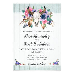 Rustic Floral Cow Skull Boho Wedding Invitation
