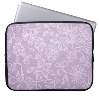 Rustic Floral Design Laptop Sleeve - Pink/White