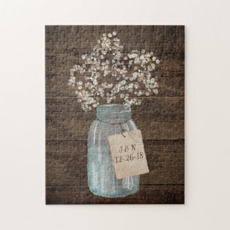 Rustic Floral Flower Country Mason Jar Wedding Jigsaw Puzzle